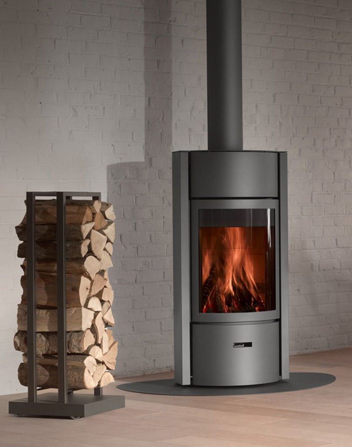 Wood Heating Stove Contemporary Metal Round 30