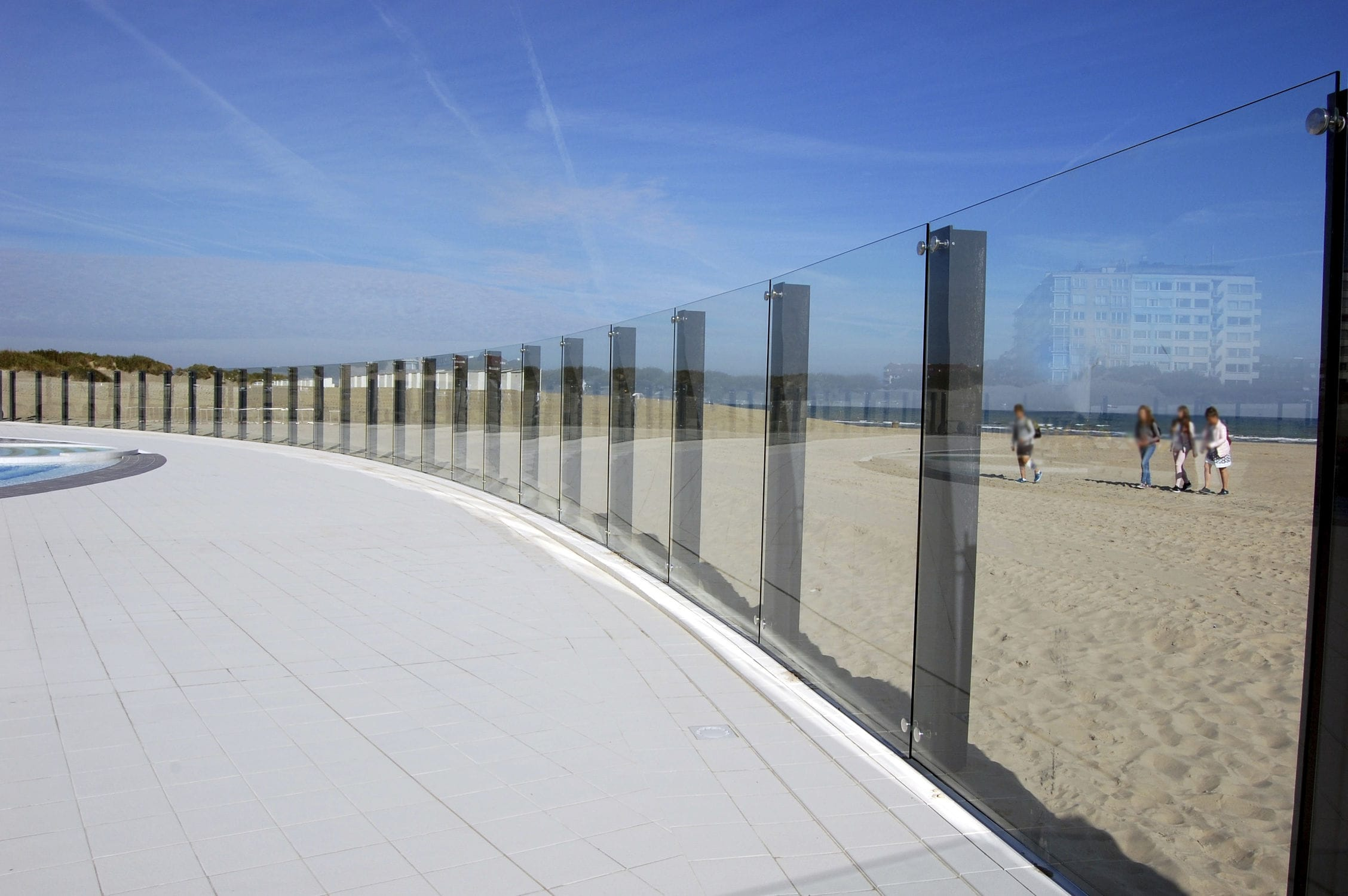 Stainless steel railing / glass panel / outdoor / for balconies ...
