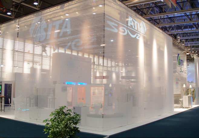 mesh textile membrane / polyester / for partition walls / fire