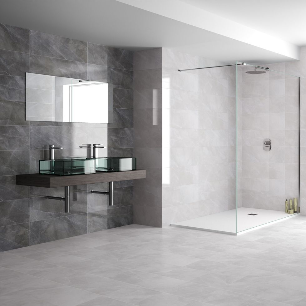 Bathroom tile / wall / porcelain stoneware / plain - PETRA ...