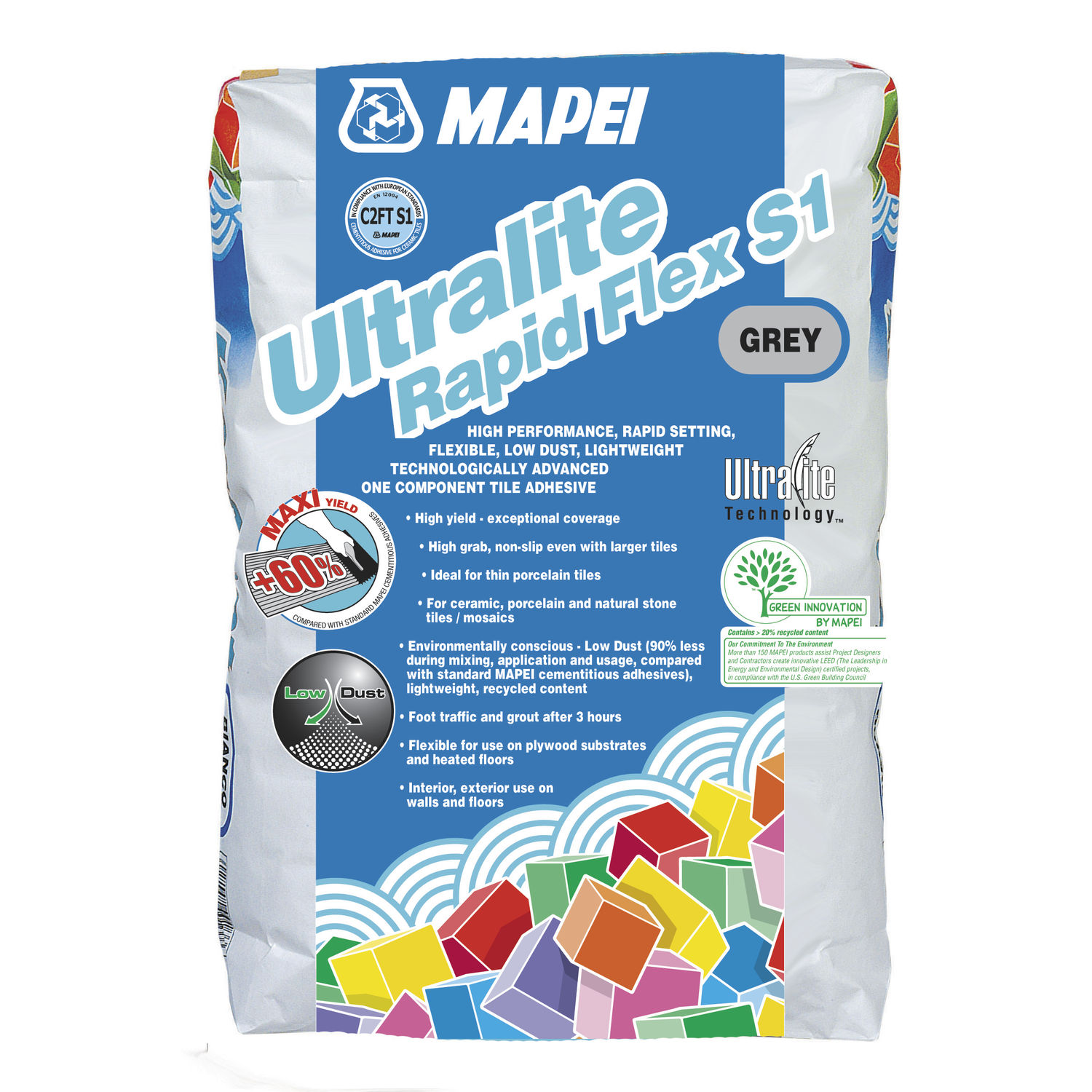 Fixing Adhesive Mortar For Tiles Cement Ultralite Rapid Flex S1