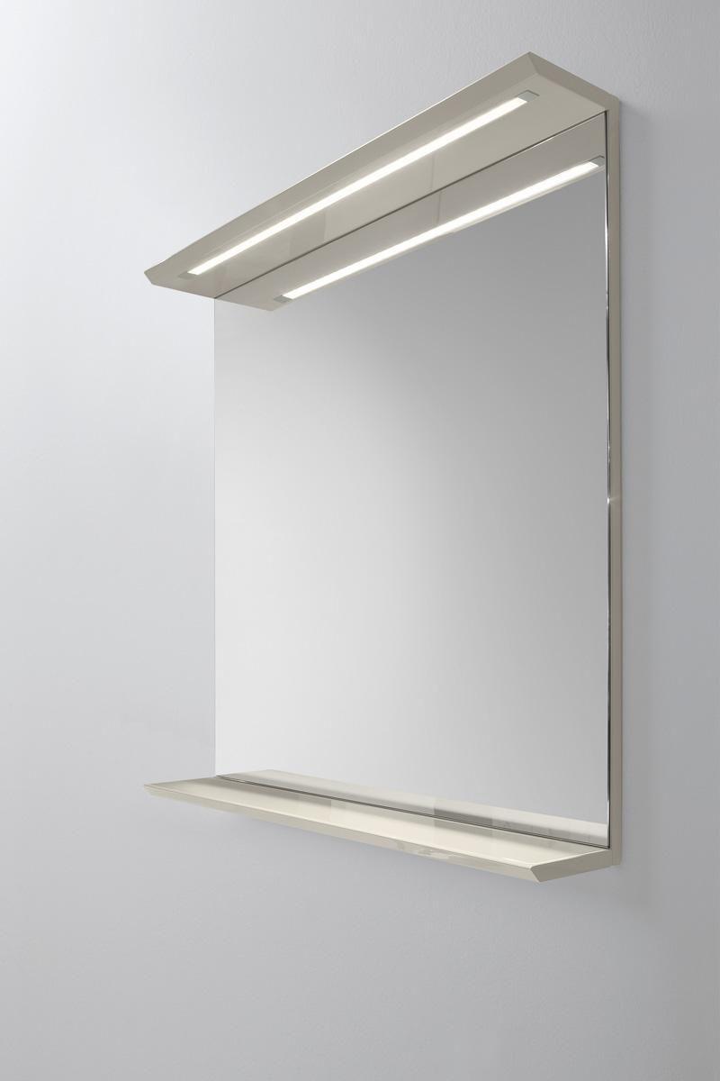 Wall-mounted bathroom mirror / illuminated / with shelf ...