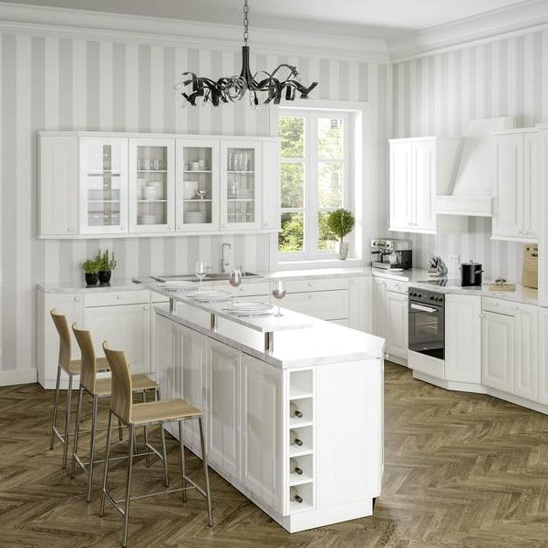 Traditional Kitchen Lacquered Wood Island Matte Venecia