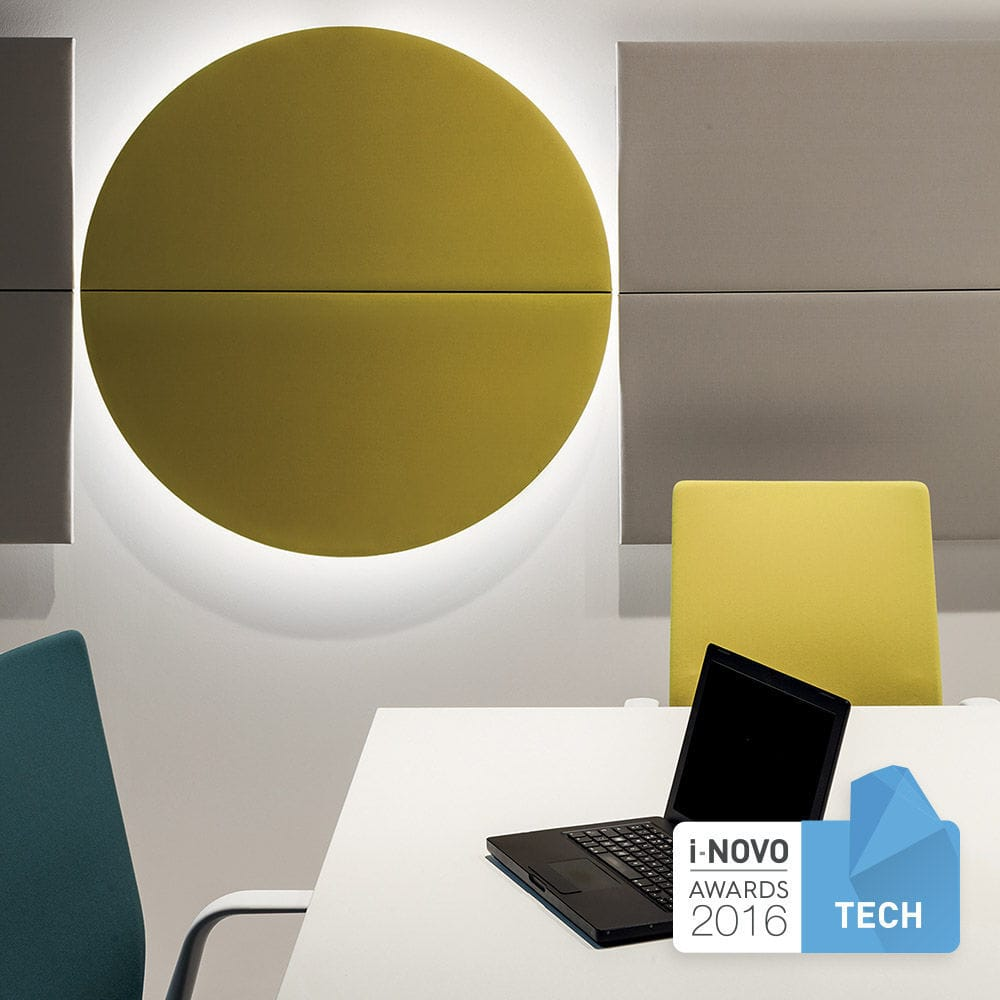 Wall-mounted acoustic panel / fabric / colored / for public ...