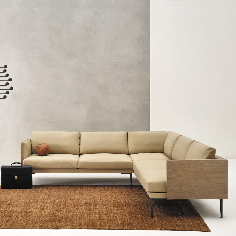 Modular sofa contemporary leather fabric STEEVE Arper