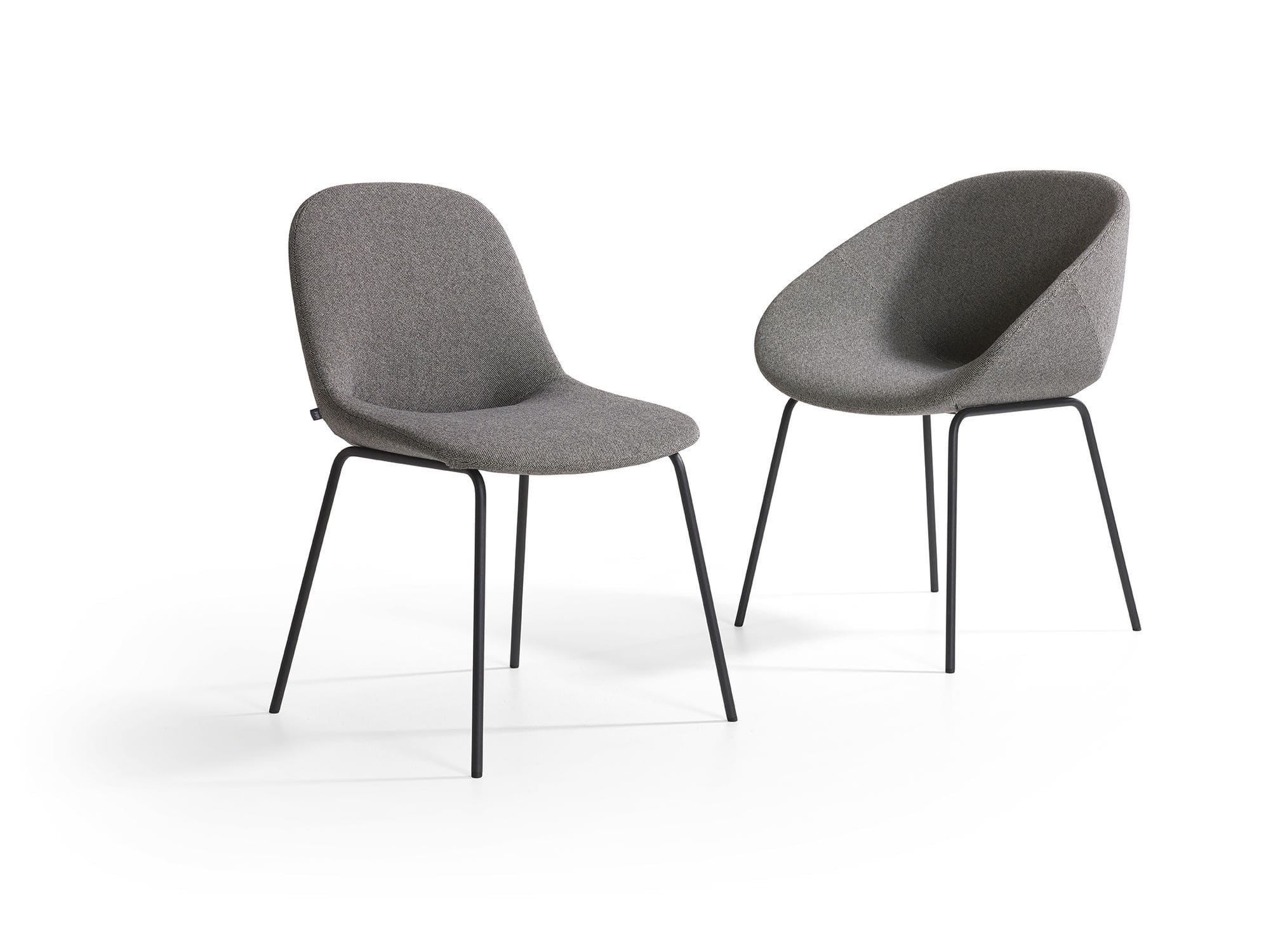 contemporary chair upholstered with armrests sled base beso