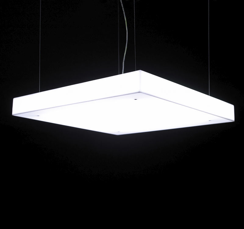 Hanging light fixture / fluorescent / linear / square - BOX S by ...