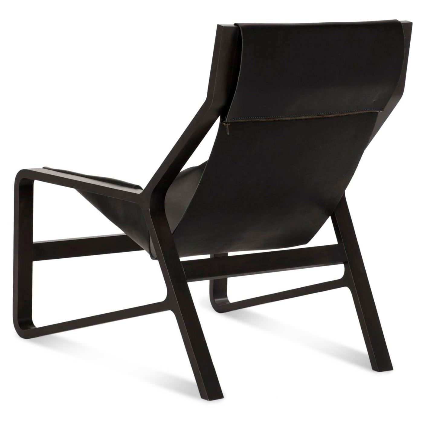 Contemporary lounge chair beech solid wood leather TORO