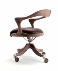 Bürosessel holz  Contemporary office chair / swivel / upholstered / with armrests ...