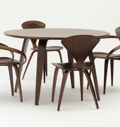 ... Contemporary Dining Table / Walnut / Molded Plywood / Round