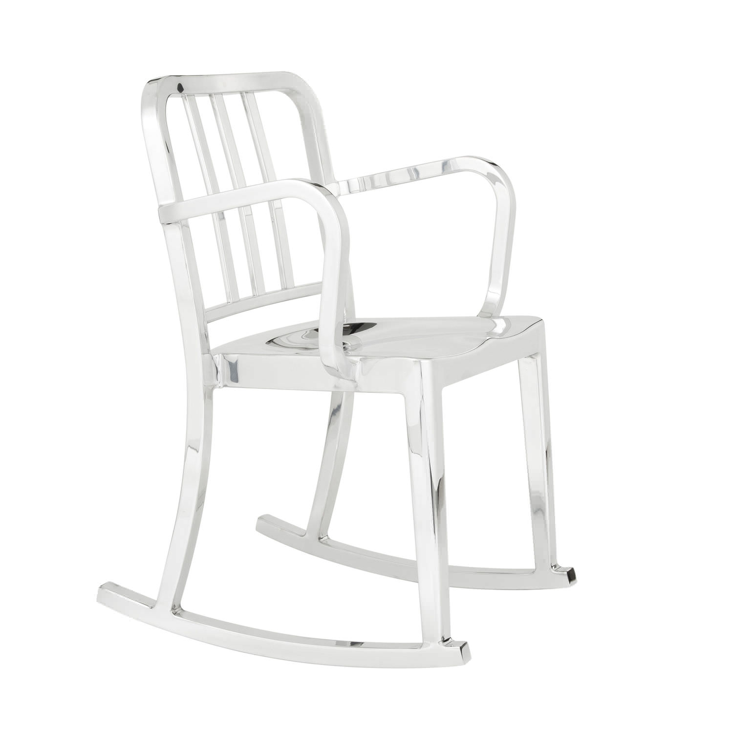 Contemporary chair rocker wooden aluminium HERITAGE emeco