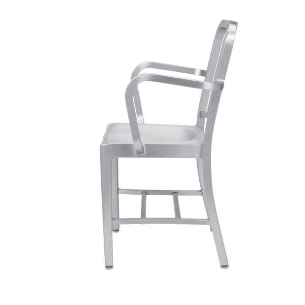 chair aluminum with armrests navy 1006a emeco