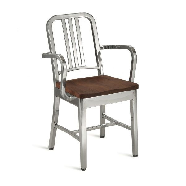 Contemporary Chair / With Armrests / Aluminum   NAVY : 1104 A