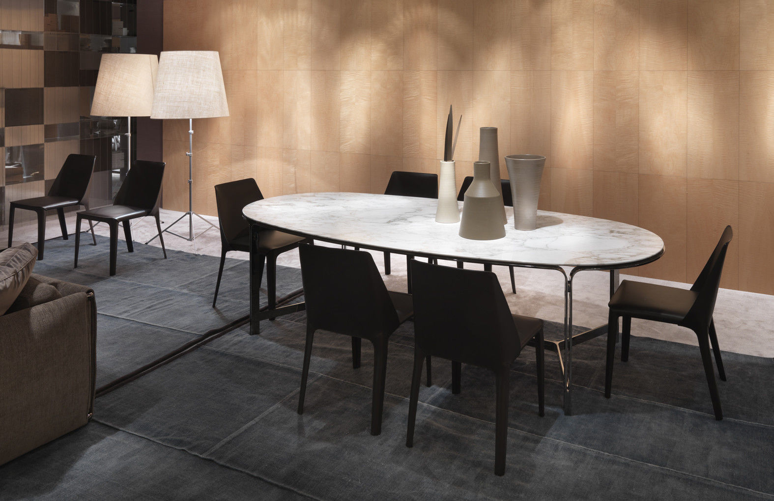 ... Contemporary Dining Table / Metal / Marble / Oval ...