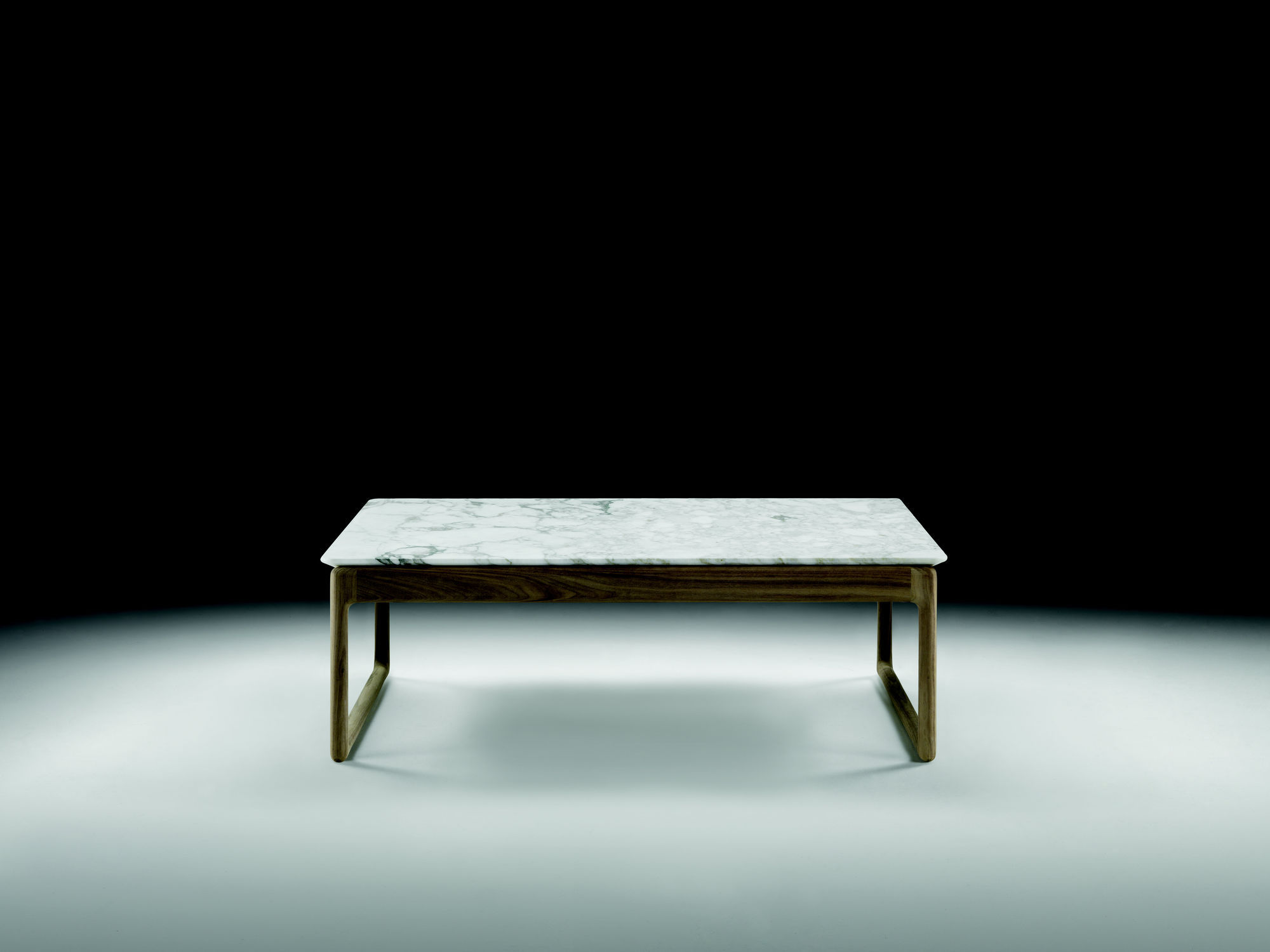 Contemporary coffee table marble solid wood rectangular