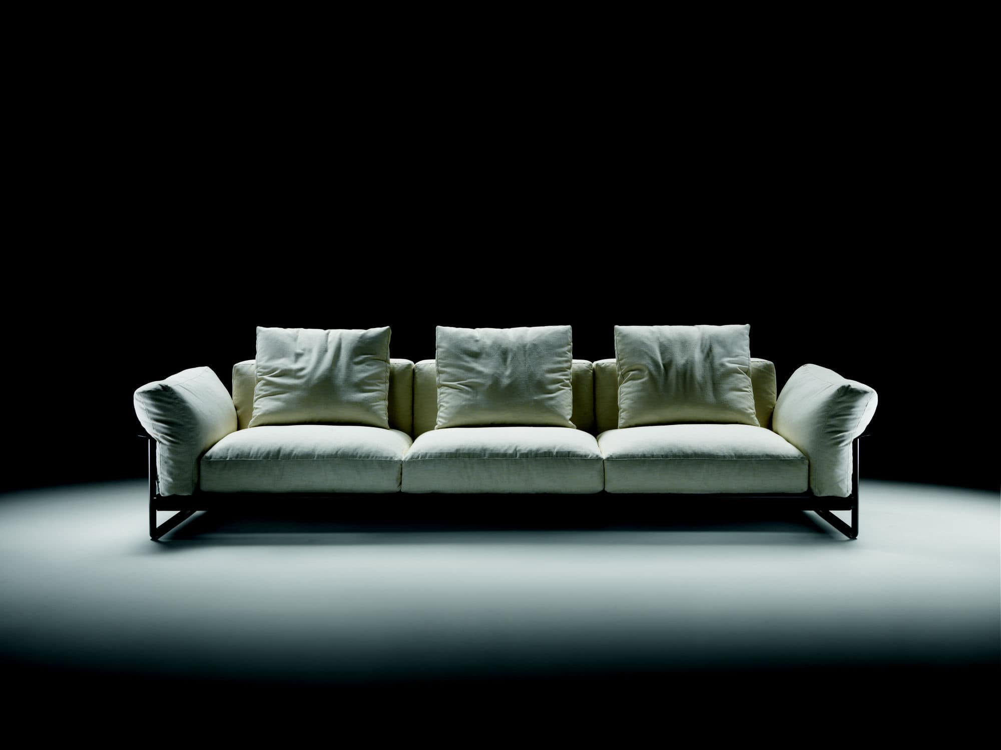 Modular sofa / contemporary / leather / fabric - ZENO LIGHT - FLEXFORM