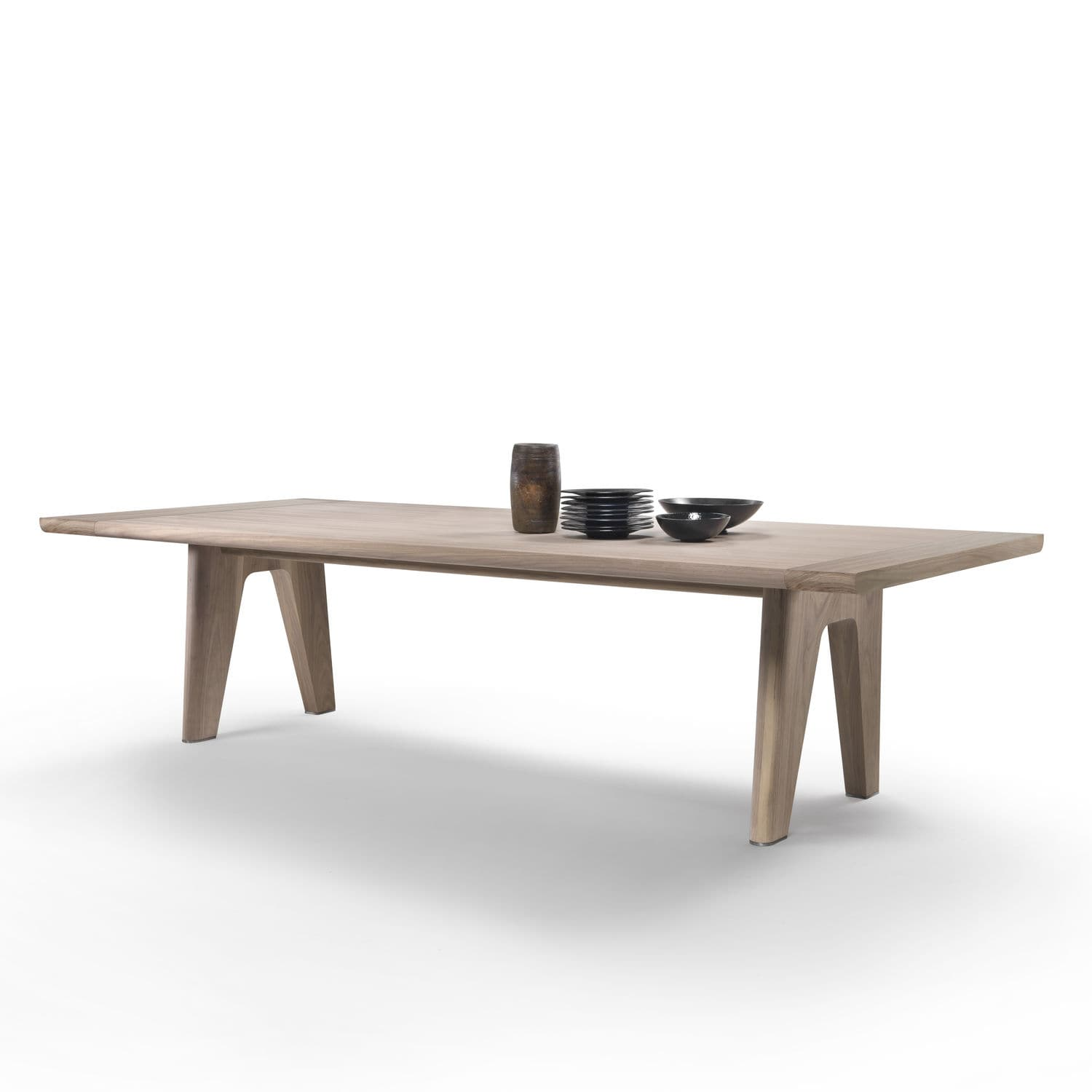 Contemporary Dining Table Metal Solid Wood Stained Monreale