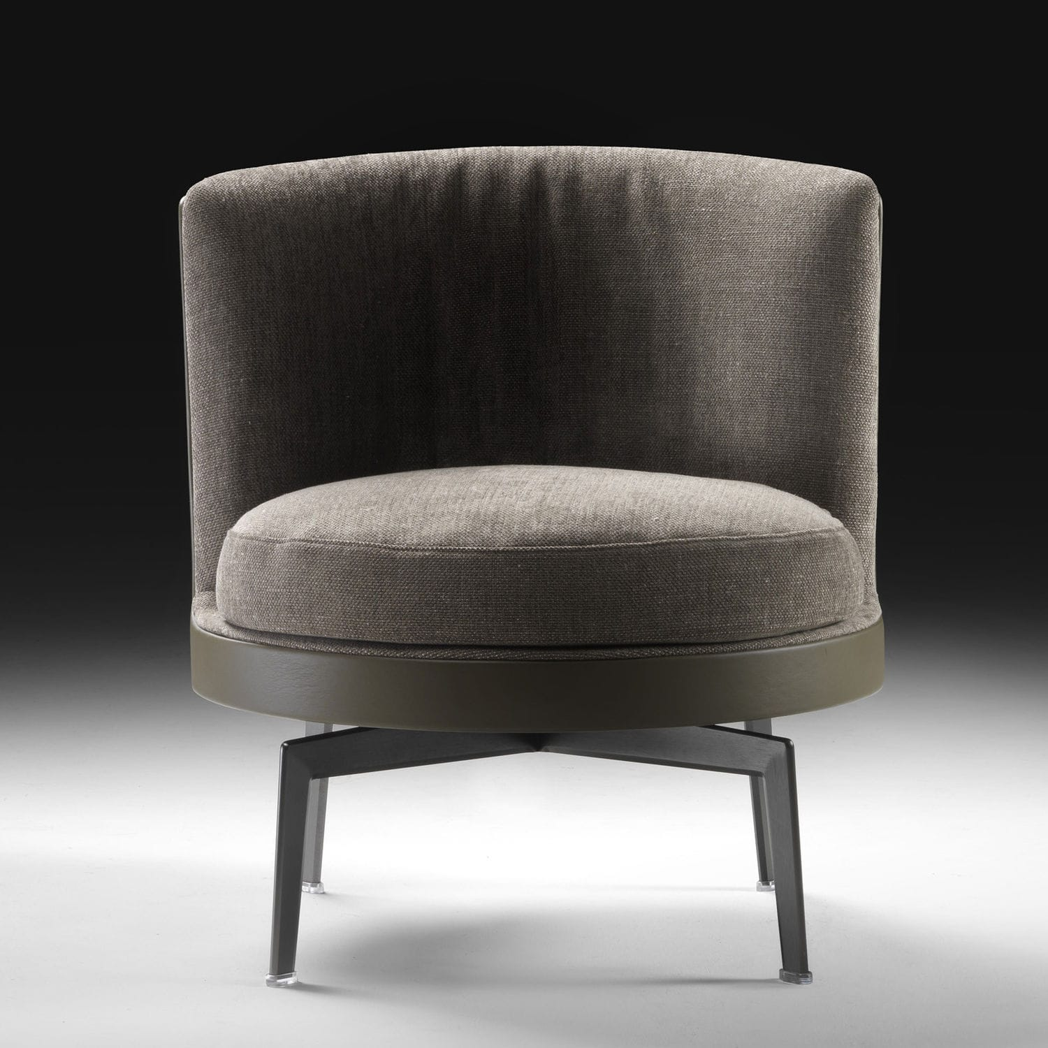 Contemporary Armchair Fabric Leather Wooden