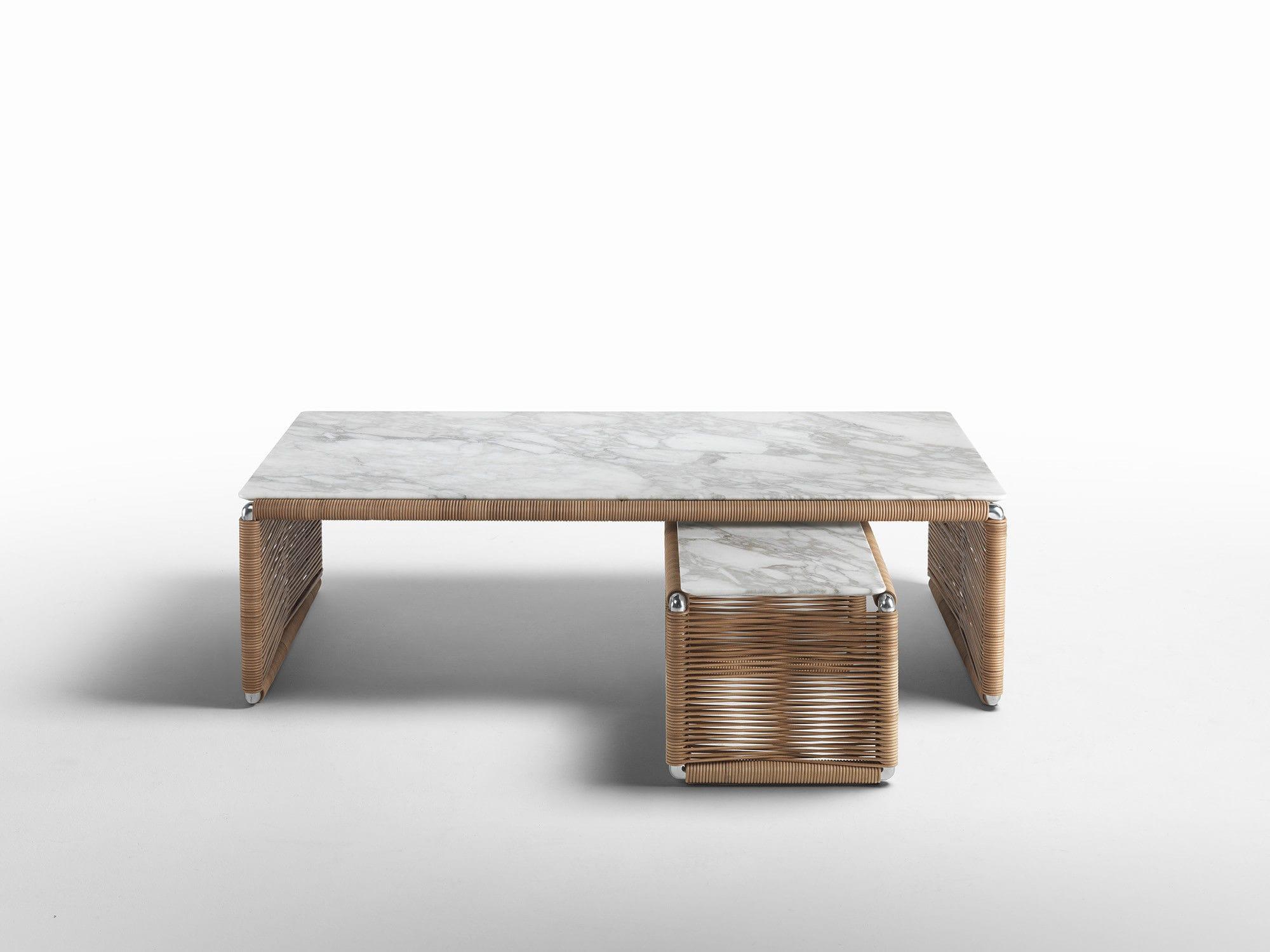 Contemporary coffee table metal leather marble TINDARI