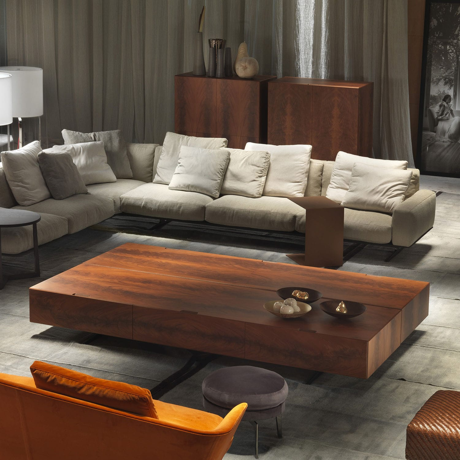 Contemporary coffee table wooden rectangular with drawer