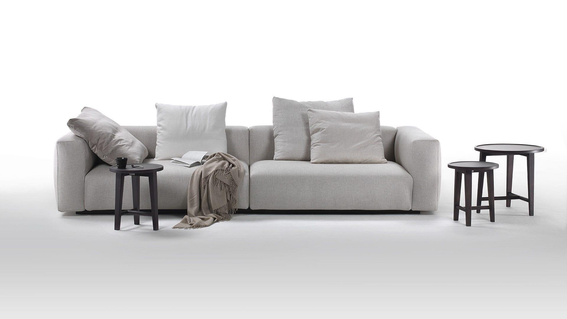 Modular sofa contemporary leather fabric LARIO