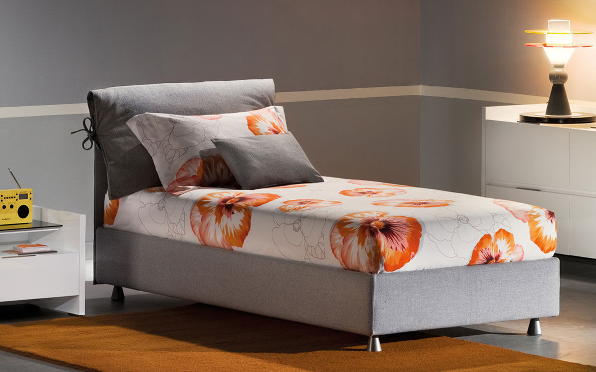 Single bed / contemporary / with in-base storage / upholstered ...