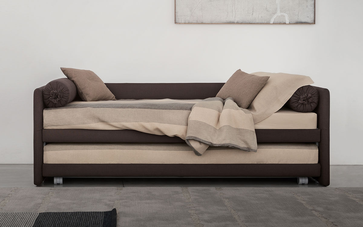 Pull Out Bed Single Contemporary With Drawer Duetto