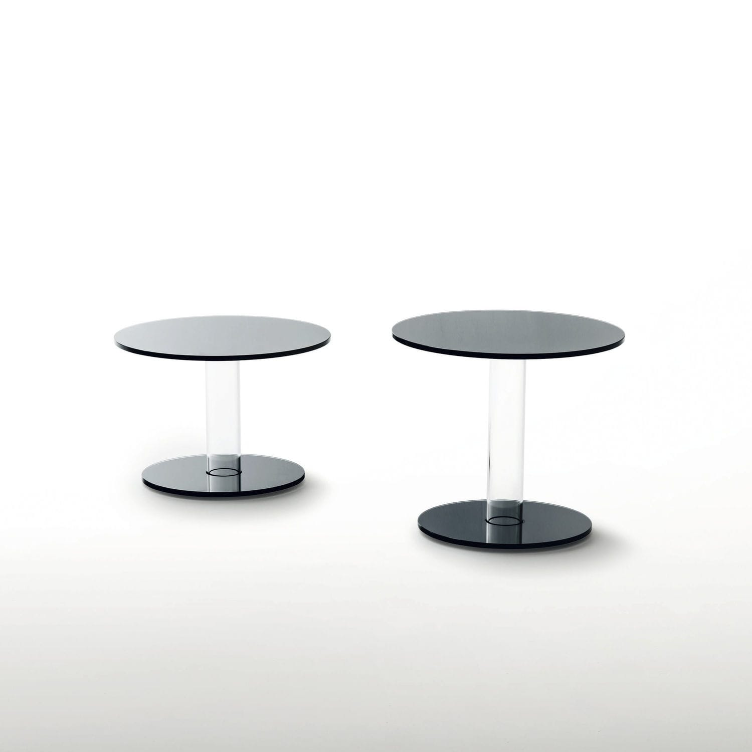 Contemporary Side Table Glass Round Transparent  Hub