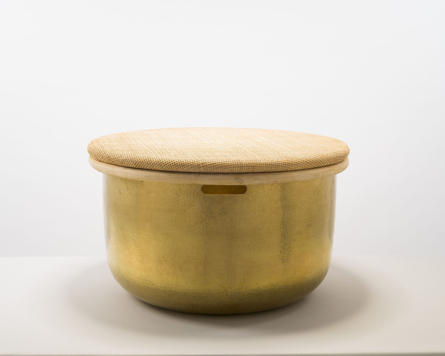 Contemporary Side Table / Brass / Round / With Storage Compartment   TABLA