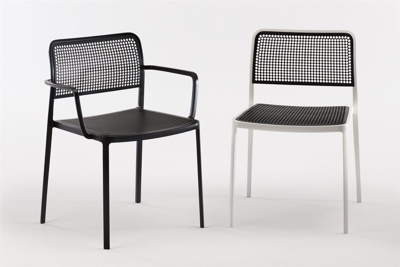 Contemporary chair with armrests stackable fabric audrey