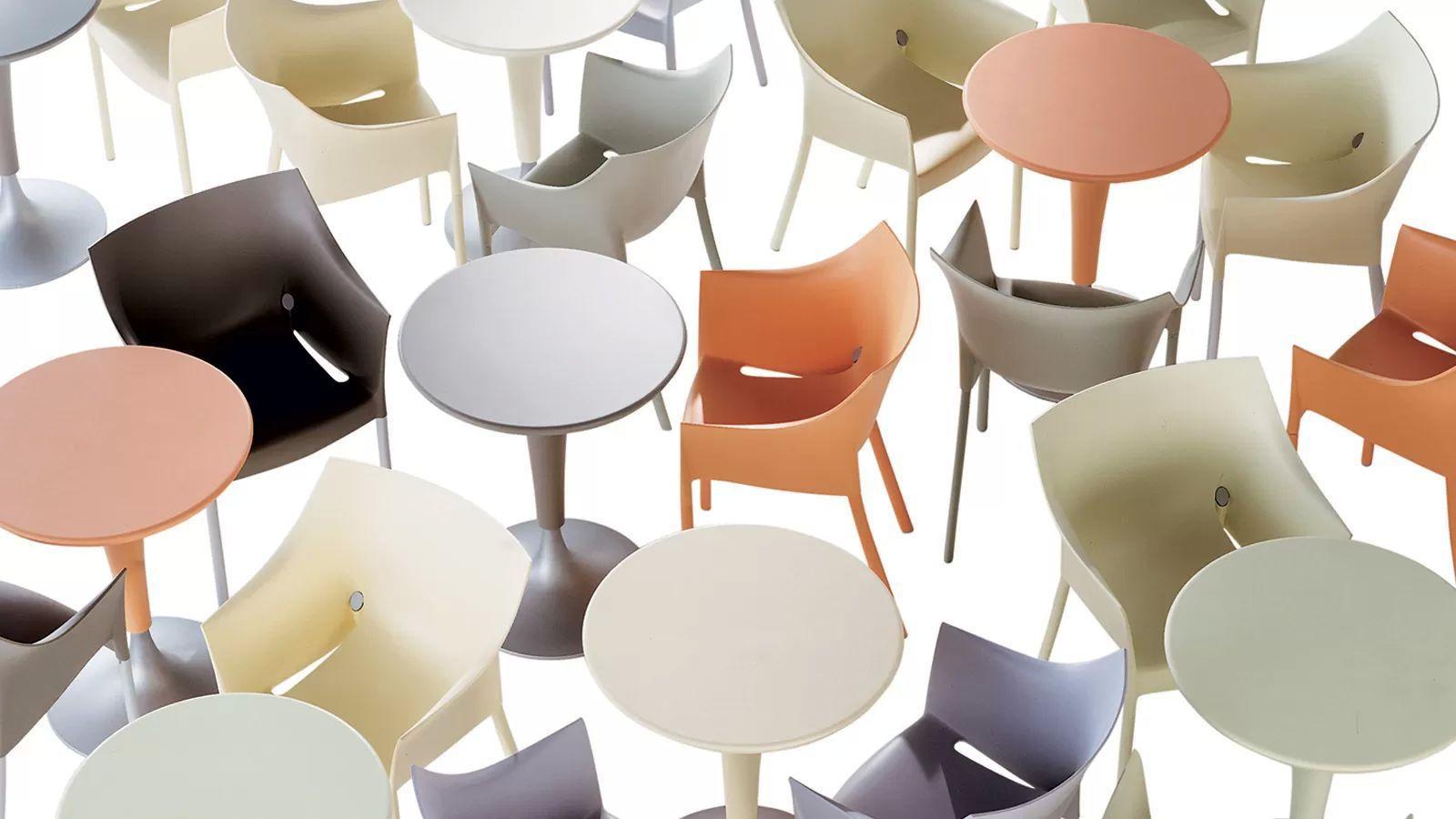 Contemporary pedestal table plastic cast aluminum round DR