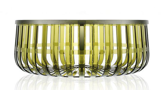 contemporary coffee table / polycarbonate / round / with storage
