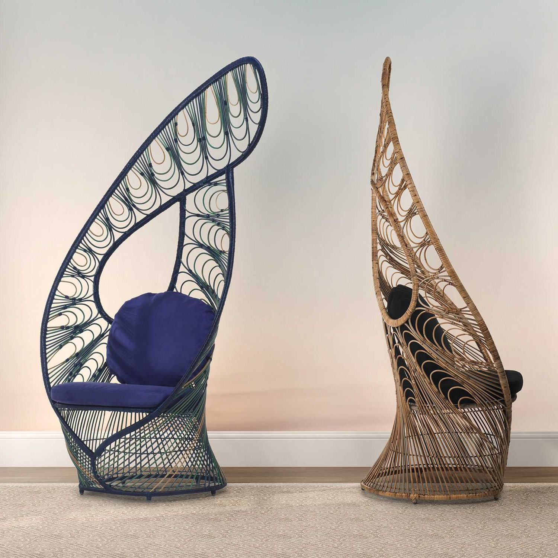 Original Design Armchair / Rattan / Wicker / High Back   PEACOCK