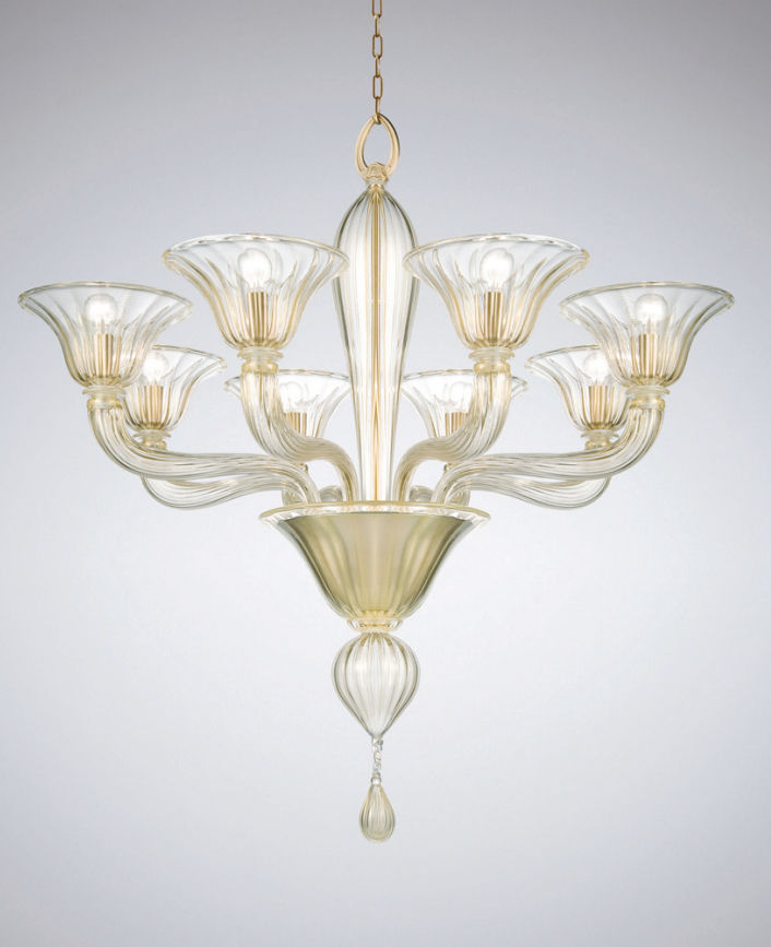 Traditional chandelier / blown glass / Murano glass / metal ...