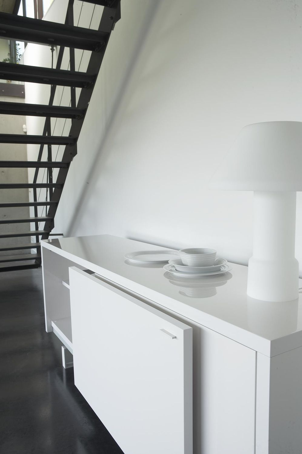 Contemporary Sideboard Lacquered Wood Melamine White  # Bahut Ligne Roset