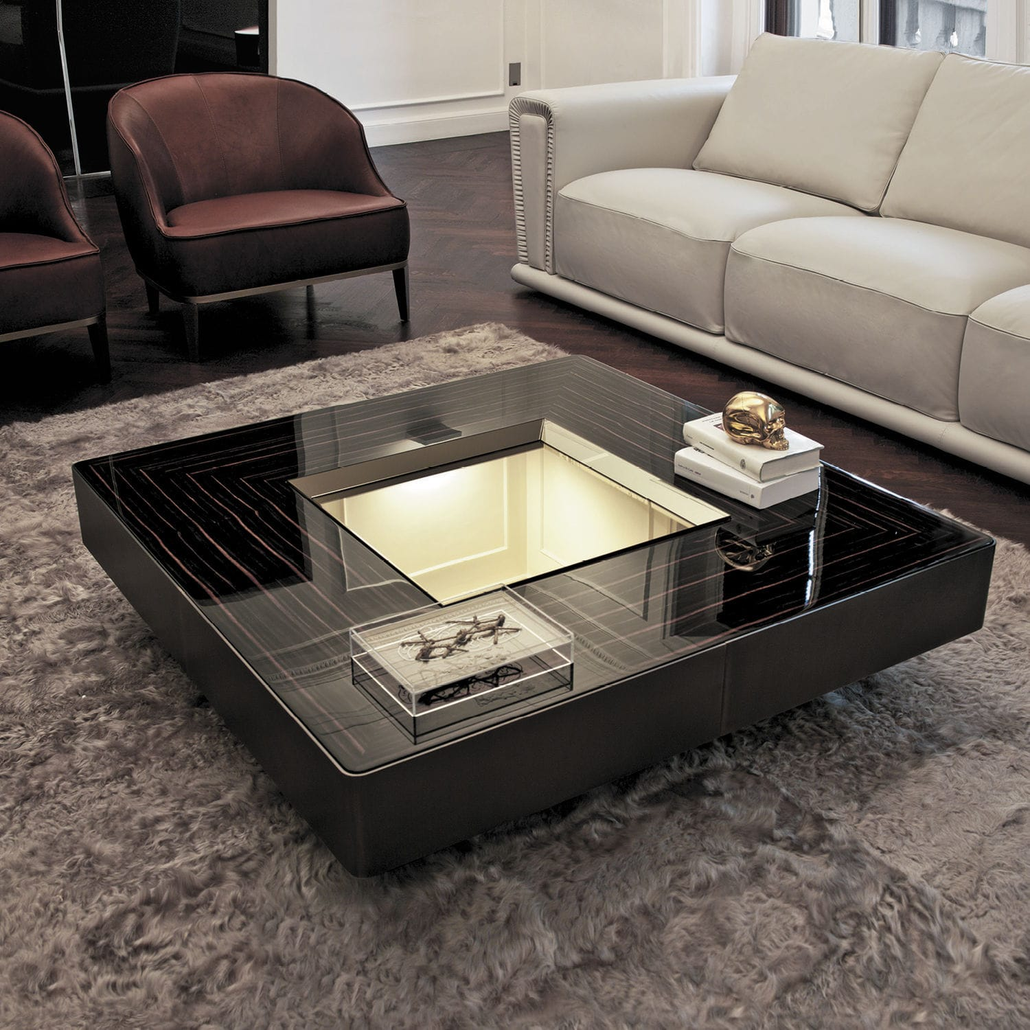 Contemporary coffee table metal leather walnut LORD Y 708