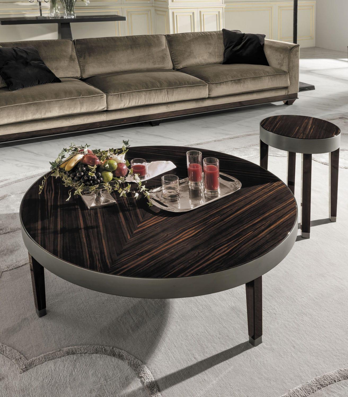Contemporary coffee table metal walnut wood veneer RING Y