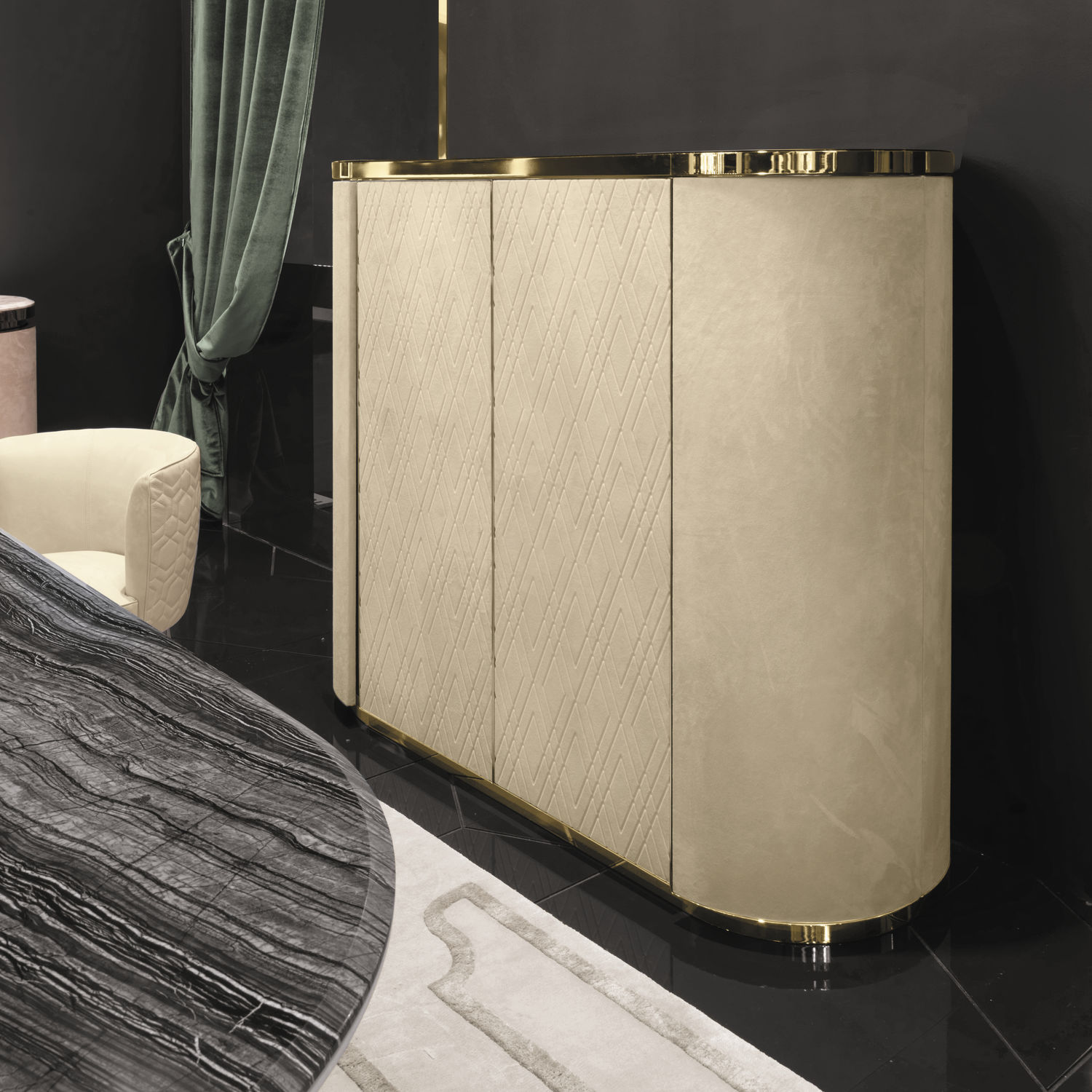 Charming Contemporary Bar Cabinet / Leather / Metal   BEVERLY Y 748 By Giuseppe  Iasparra