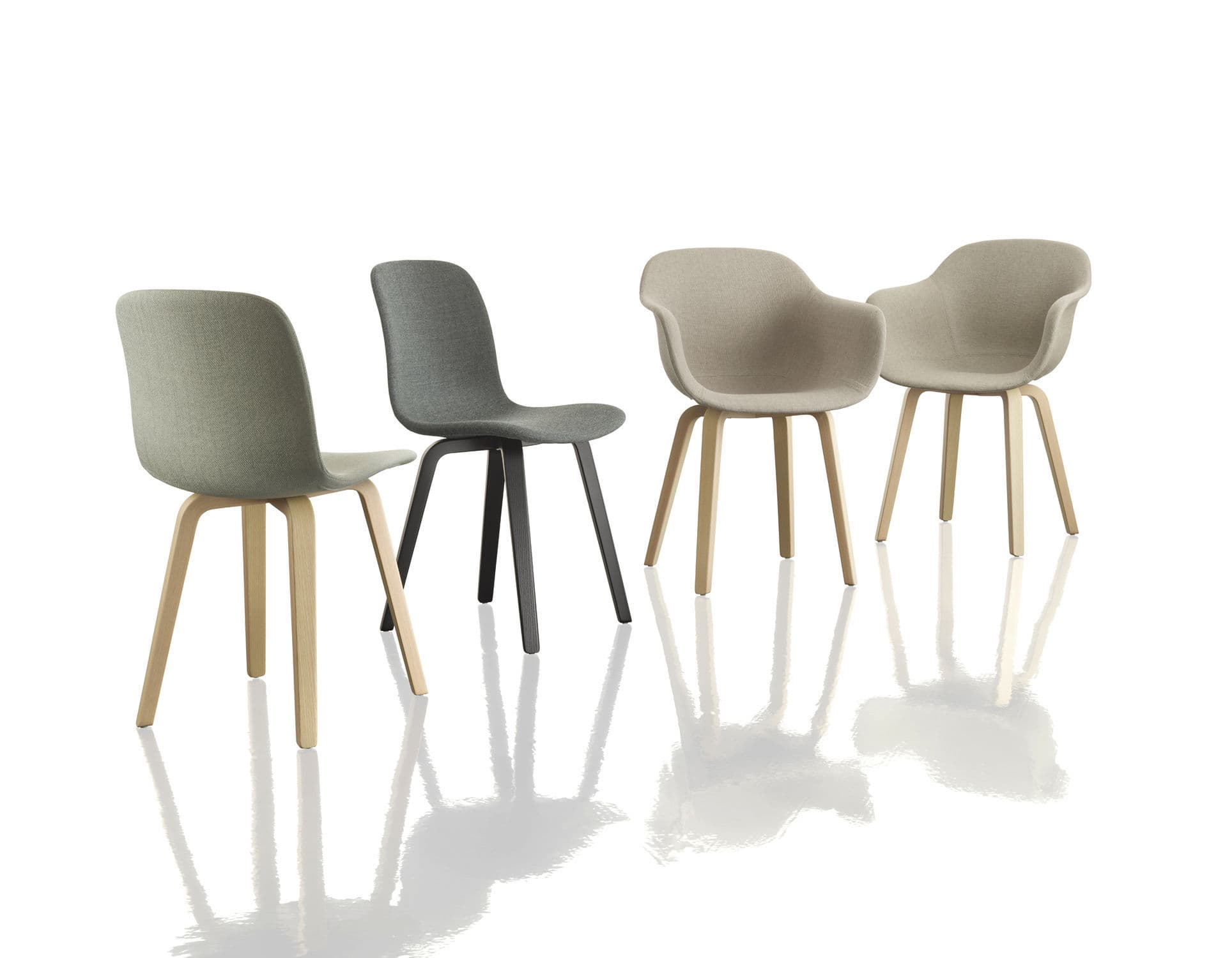 Contemporary chair upholstered with armrests molded plywood
