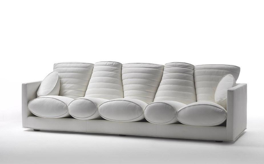 Contemporary Sofa Fabric By Marc Newson 4 Seater Prosciutto