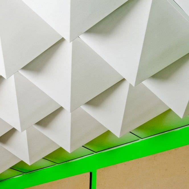 cardboard suspended ceiling tile decorative peak foldscapes by jaime salm and alex undi