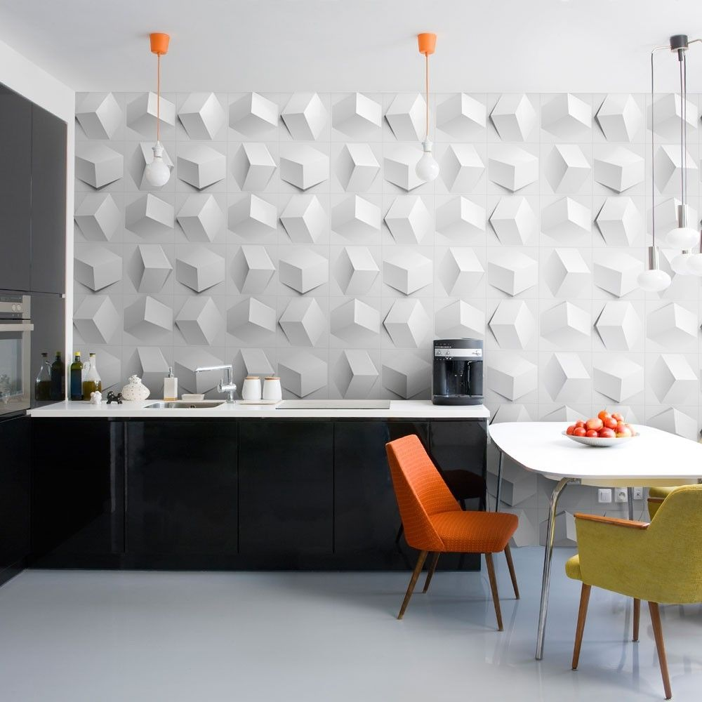 Contemporary wallpaper / geometric / 3D effect / embossed - CUBE by ...