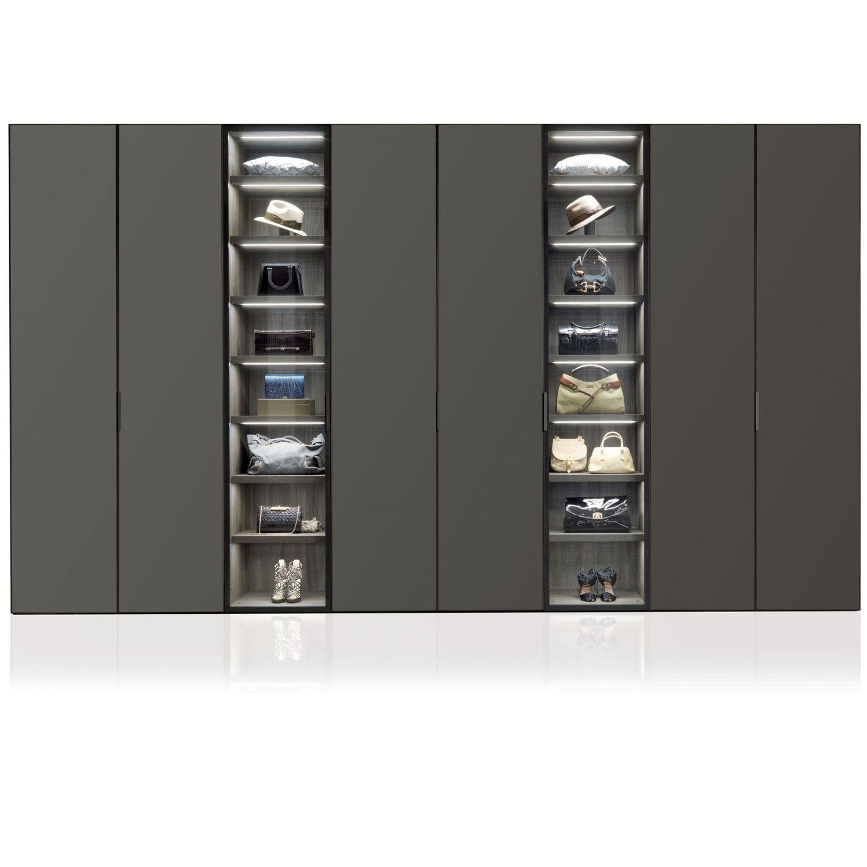 Contemporary Wardrobe Glass Aluminum With Swing Doors