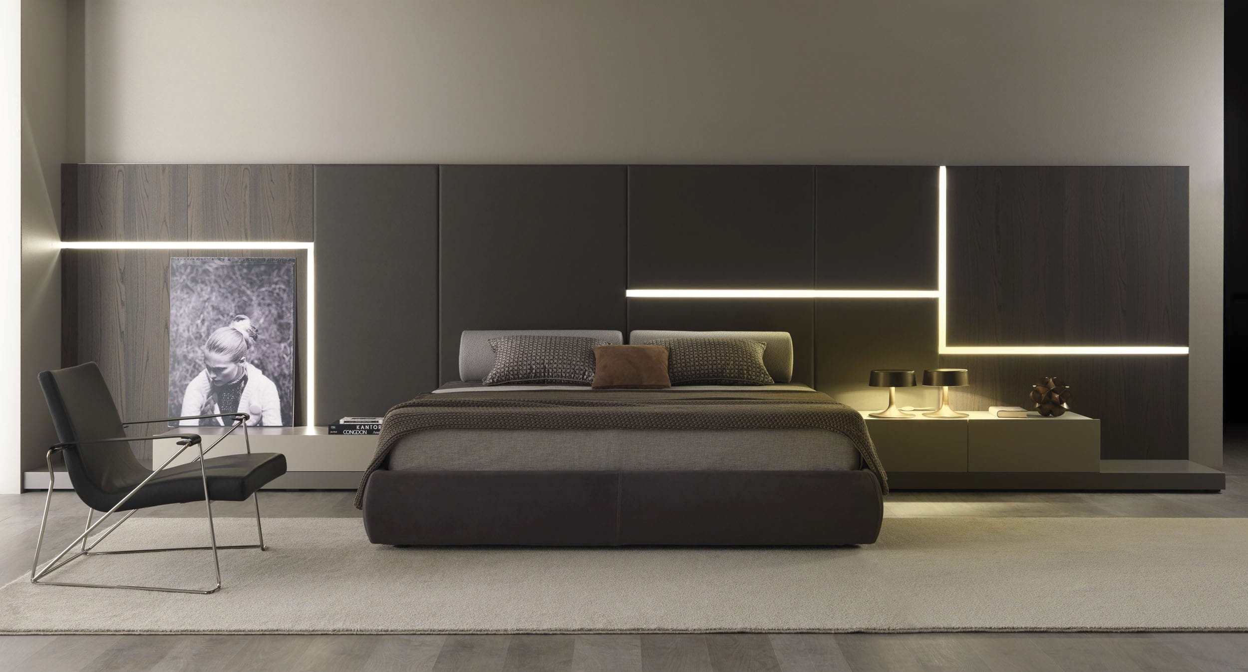 Double bed contemporary with headboard integrated bedside