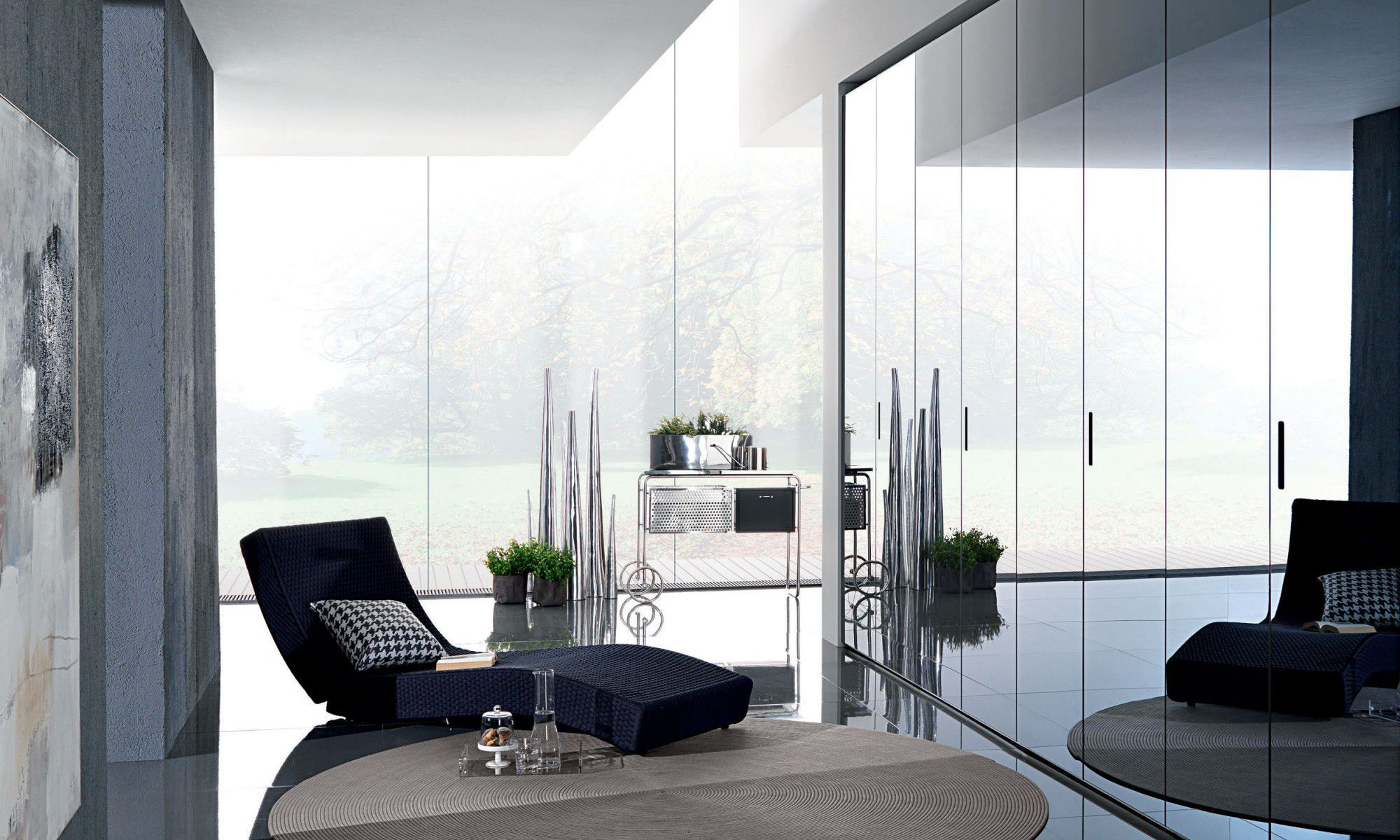 Contemporary wardrobe / glass / lacquered glass / with swing doors ...