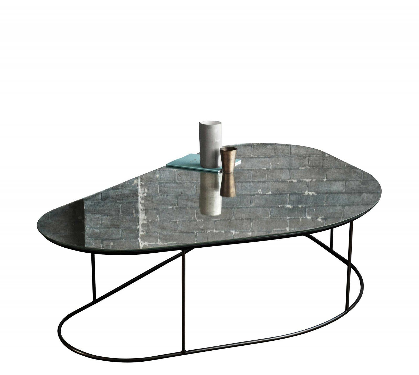 Contemporary coffee table glass steel triangular MOON