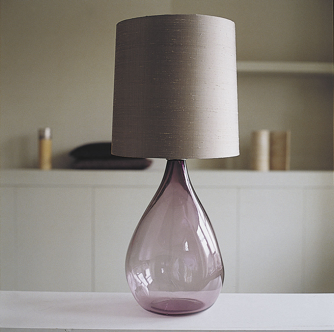 Exceptional Table Lamp / Contemporary / Nickel / Blown Glass CHERUB OCHRE ...