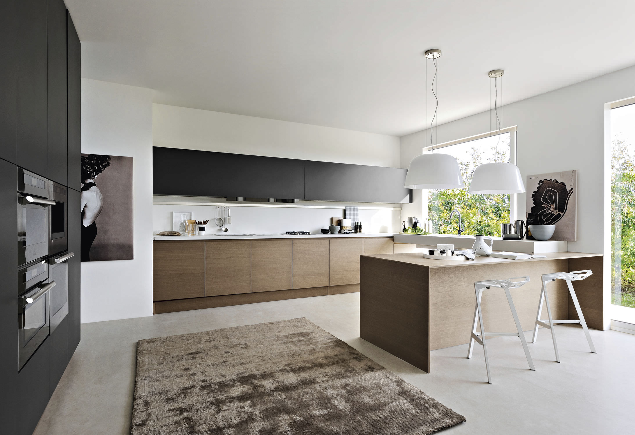 Contemporary Kitchen Wood Veneer Lacquered Integra