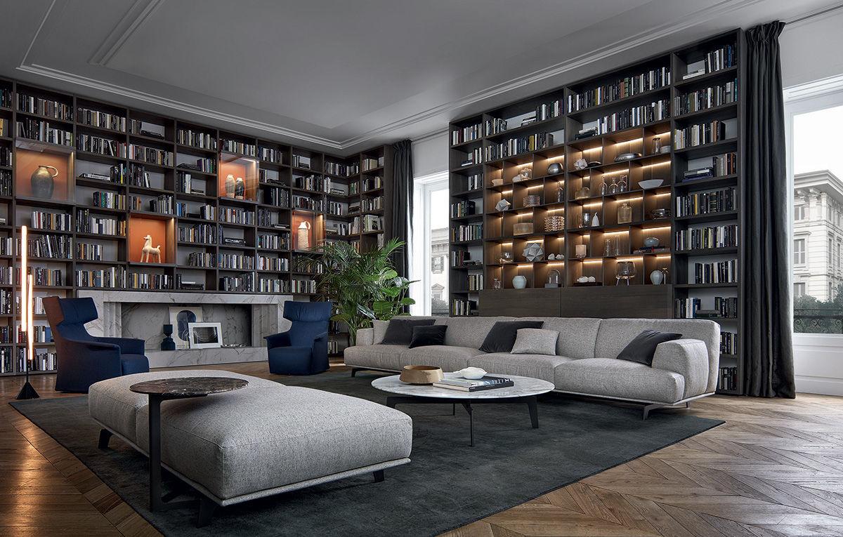 Poliform Sydney modular sofa contemporary fabric leather tribeca poliform
