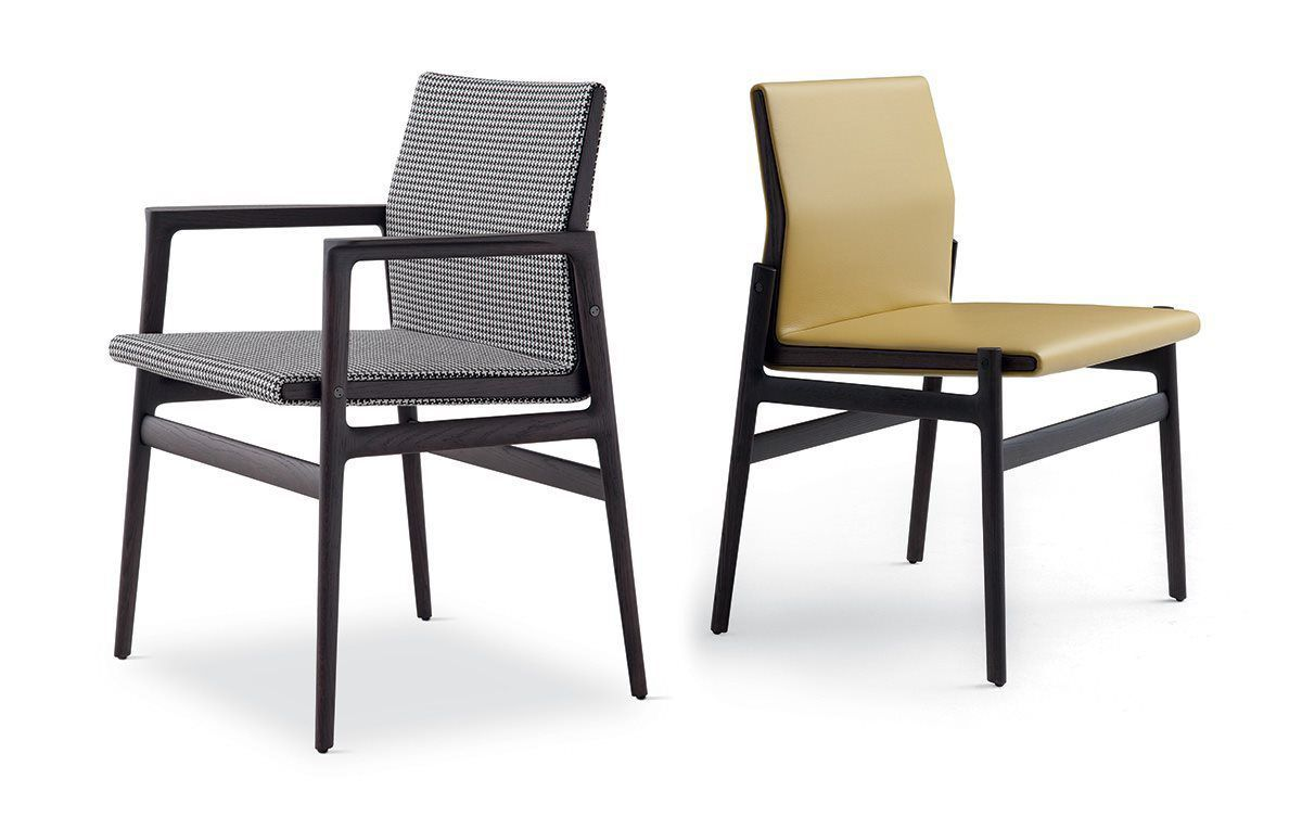 Home products chairs ics ipsilon -  Contemporary Chair Fabric Solid Wood Leather Ipanema Poliform